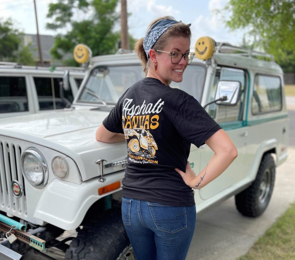 Artist, Kate Cook and her 1966 Jeepster Commando