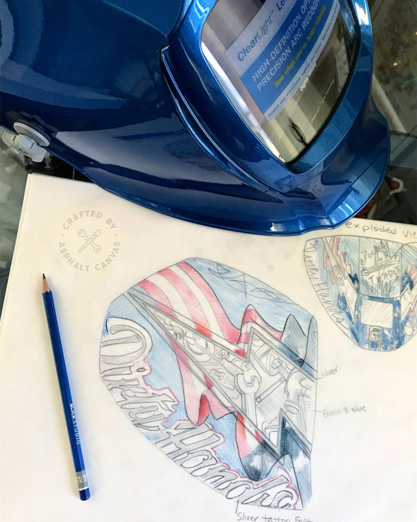 Sketches for the Rock the Trades Welding Hood by Kate Cook