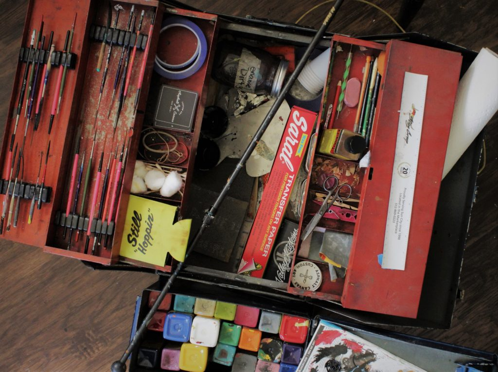 Kate Cook ' s Traveling art toolbox
